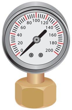 Pressure gauge, measuring instrument of pressure in the pipeline. Vector illustration. clip art vector
