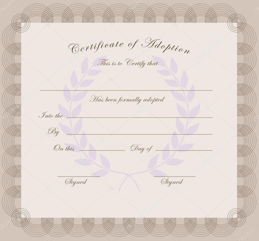 Certificate Of Adoption Stock Vector Vipdesignusa 50910549