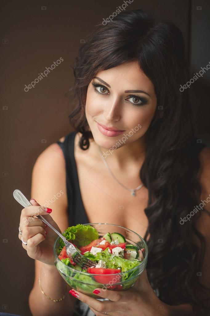 Young Woman Cooking Healthy Food Vegetable Salad Diet