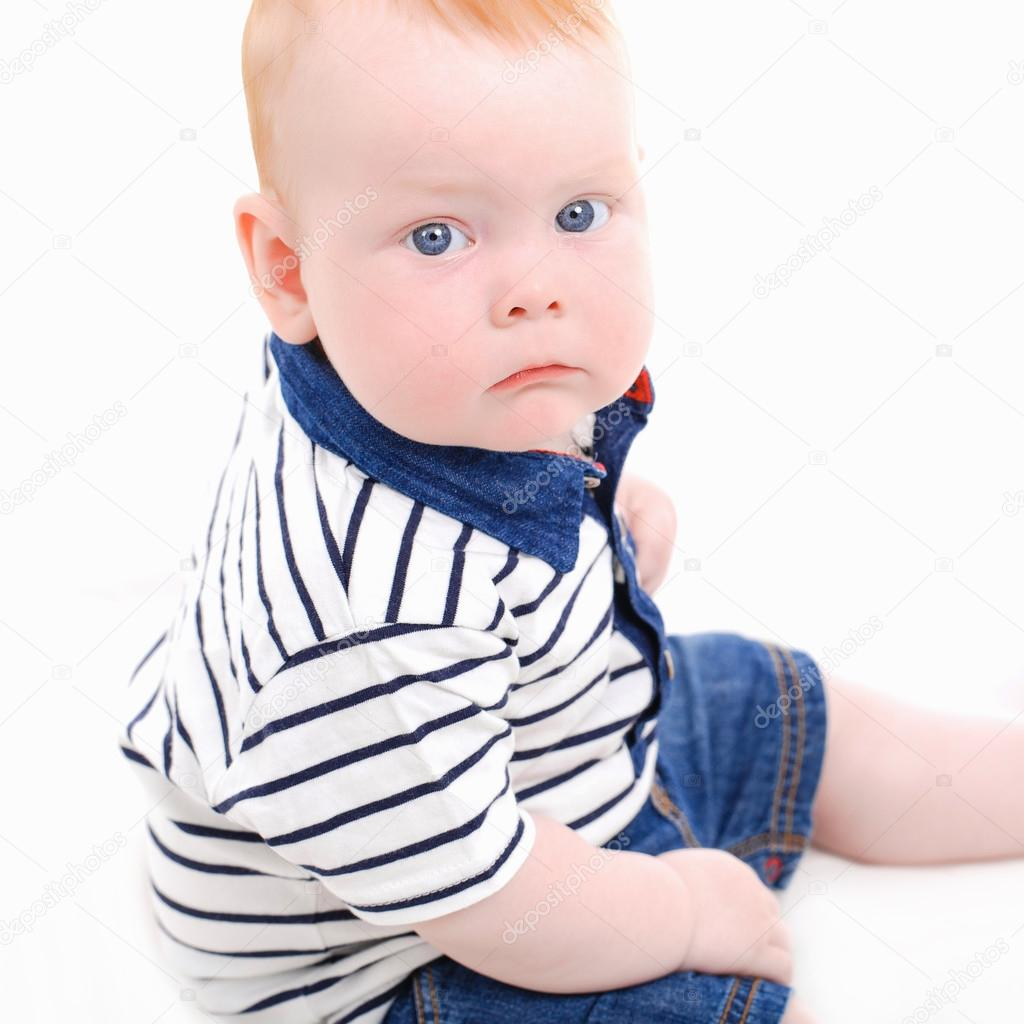 funny baby, smiling, beautiful baby face close-up — stock photo