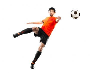football player striking the ball, isolated
