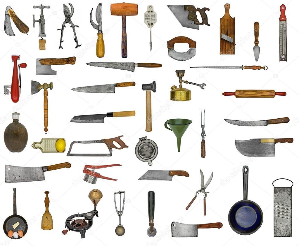 utensilios de cocina Vintage collage — Foto de stock © RedDaxLuma ...