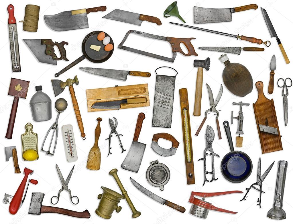 utensilios de cocina Vintage collage sobre blanco — Foto de stock ...