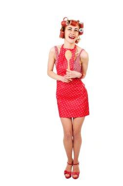 """Картина, постер, плакат, фотообои """"девушка в красном платье с деревянной ложкой """", артикул 36585397"""