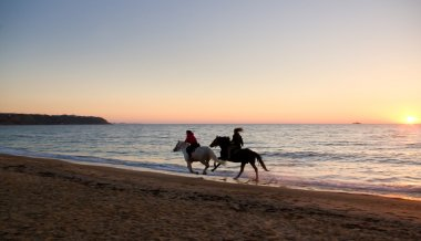on Horseback at sunset