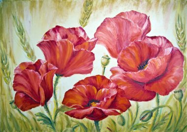 Poppies in wheat, oil painting on canvas
