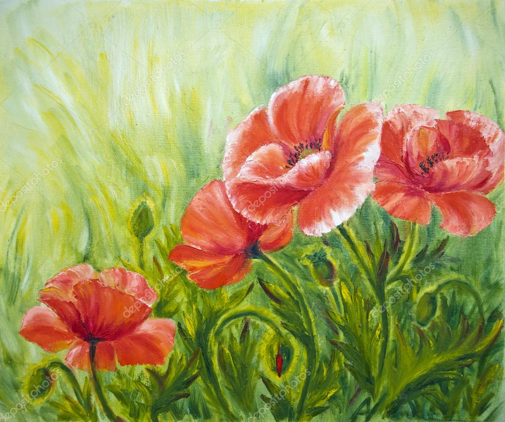Poppies, , oil painting on canvas