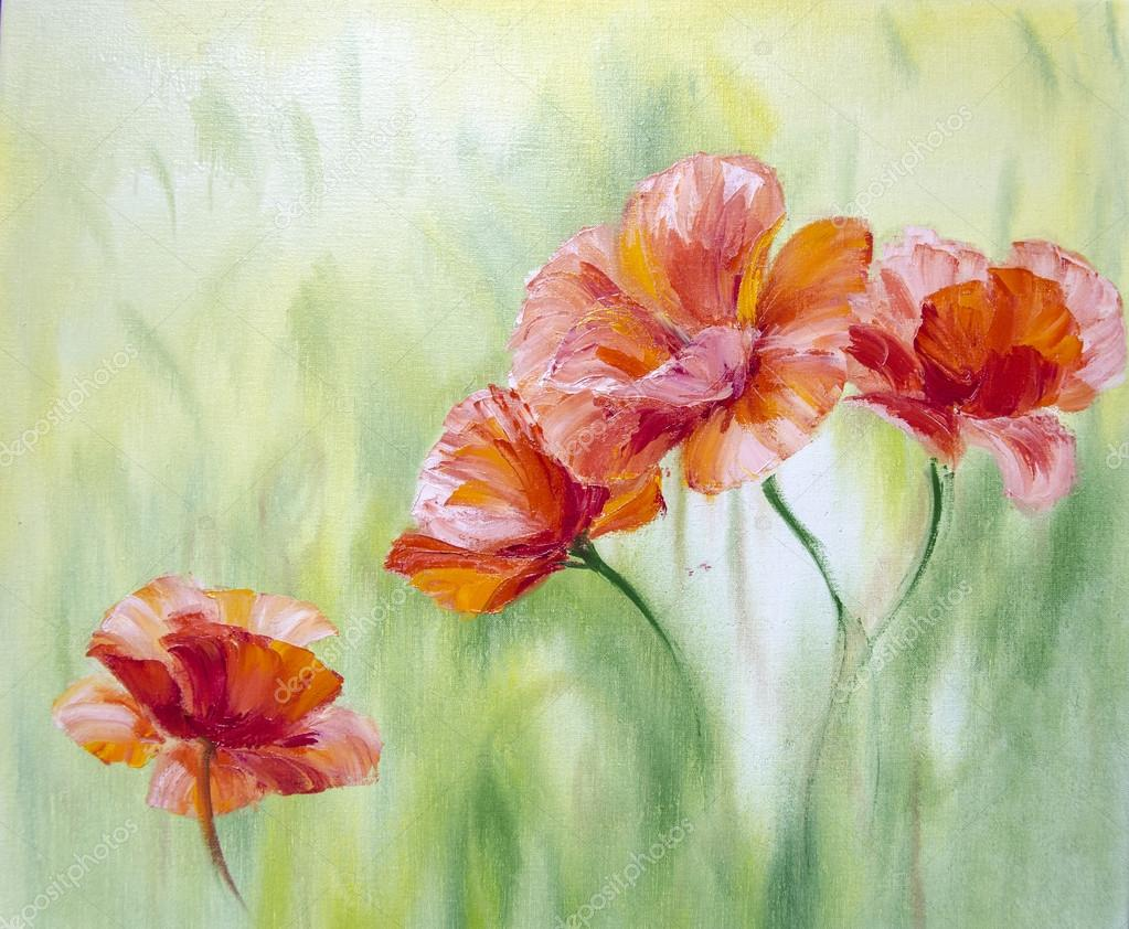 Poppies, oil painting on canvas