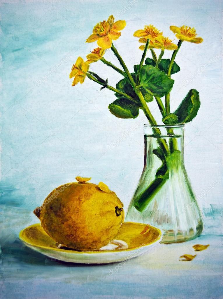 Natura morta con fiori gialli e limone dipinto ad olio su for Fiori ad olio