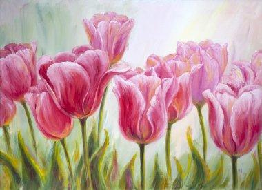 "Картина, постер, плакат, фотообои ""тюльпаны, живопись маслом на холсте"", артикул 20995983"