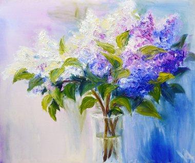 "Картина, постер, плакат, фотообои ""Сирень в вазе, живопись маслом на холсте"", артикул 20995995"