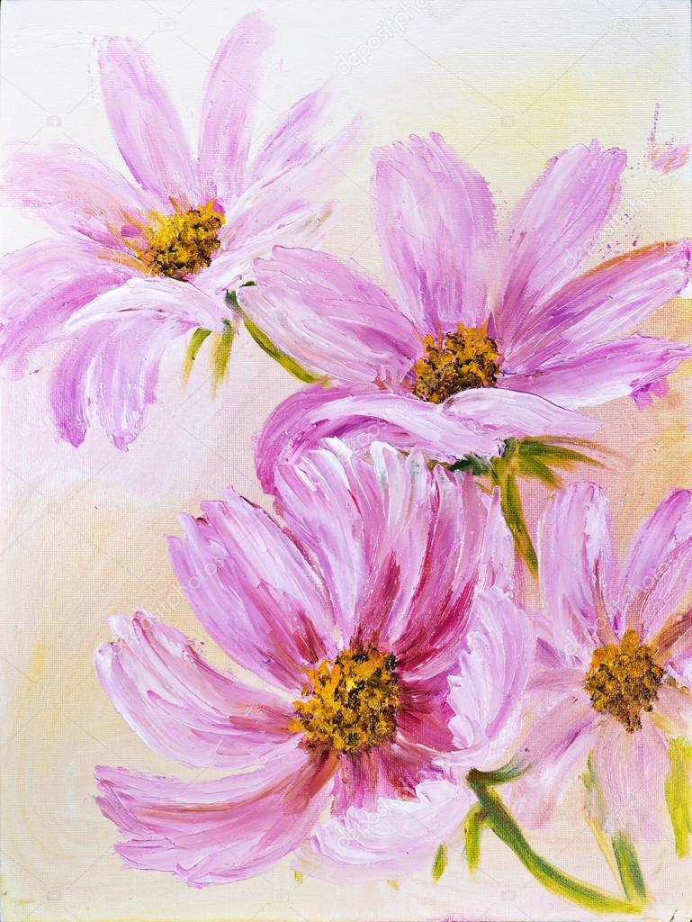Fiori di cosmo dipinto ad olio su tela foto stock for How to paint flowers with oil paint
