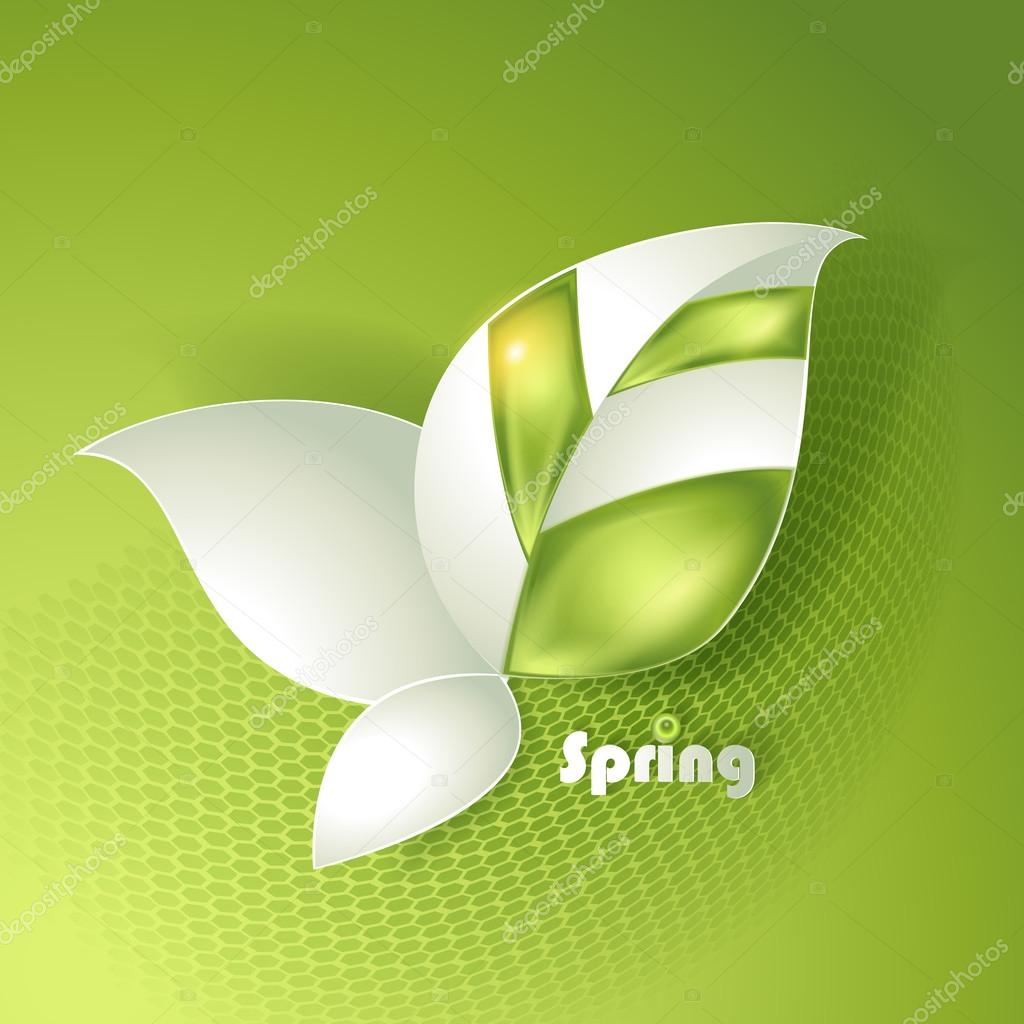 Card with vector stylized leaves