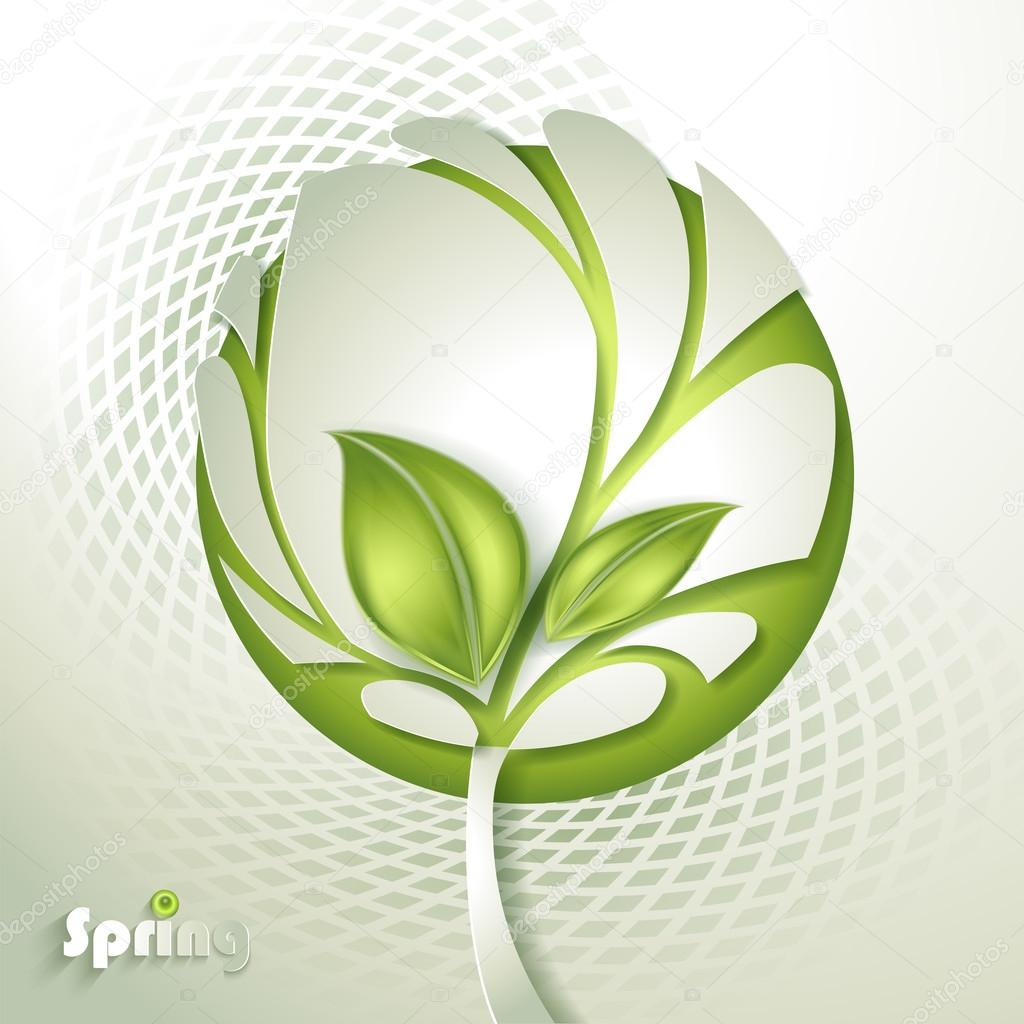 Abstract paper tree with green leaf
