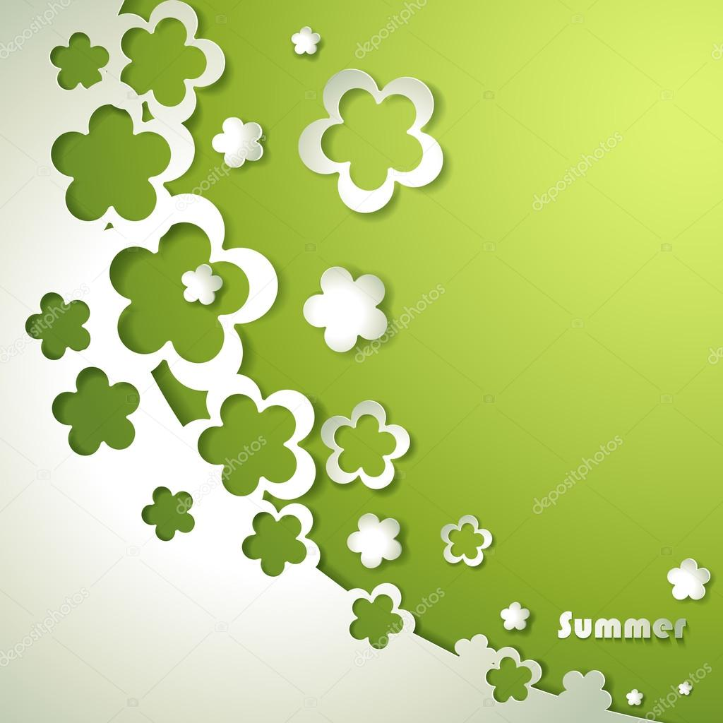 Green background with paper flowers