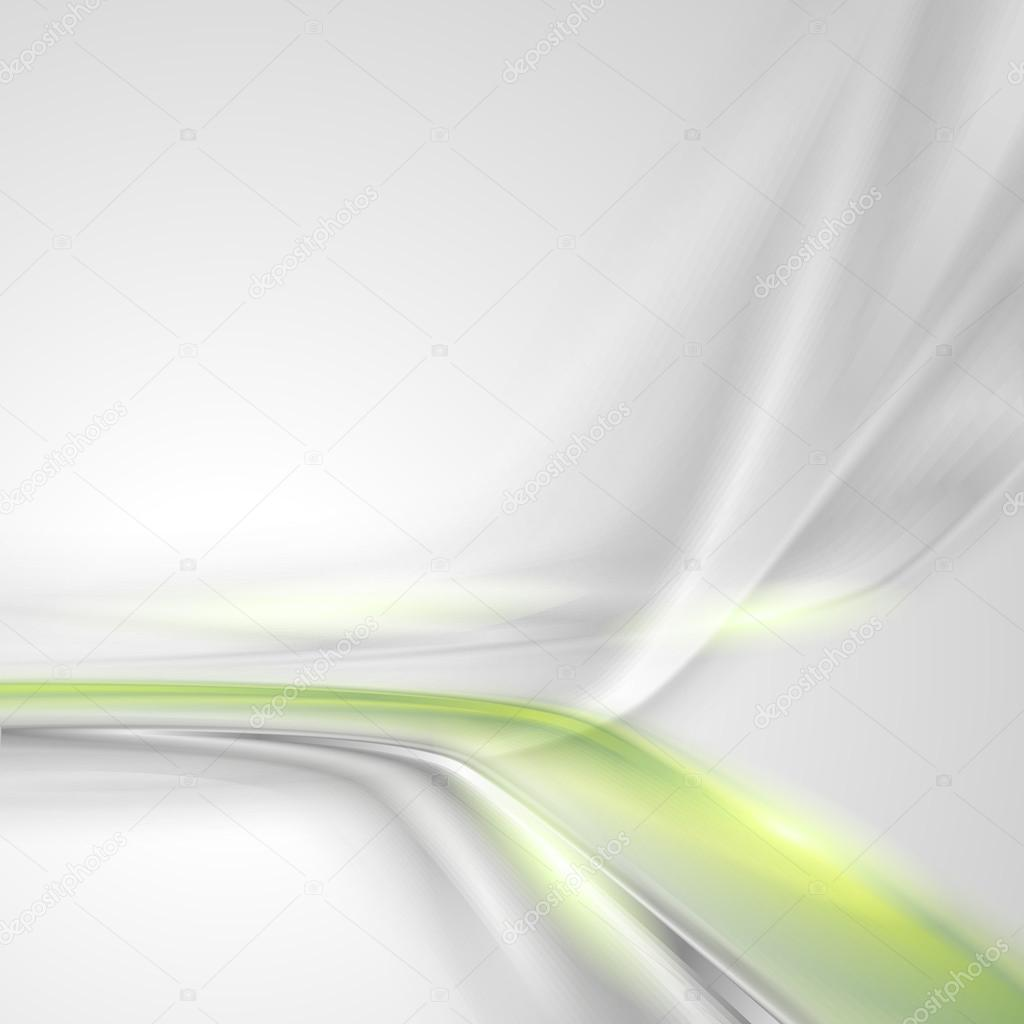 Grey Soft Abstract Background With Green Element Stock