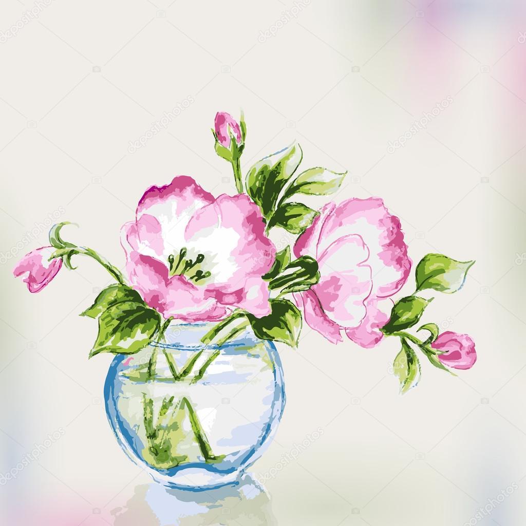 Spring watercolor flowers in vase greeting card stock vector spring watercolor flowers in vase greeting card stock vector reviewsmspy