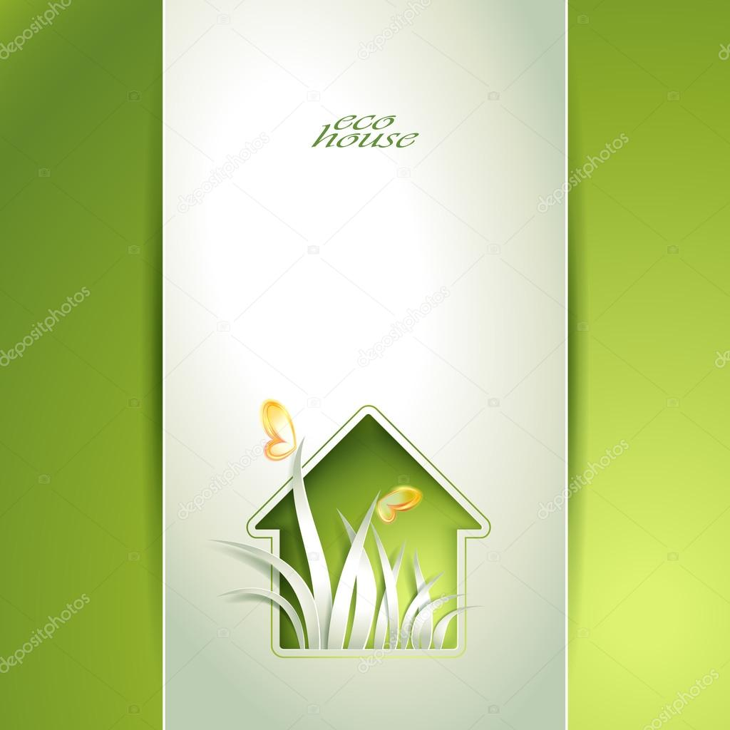 Spring green house invitation template card.