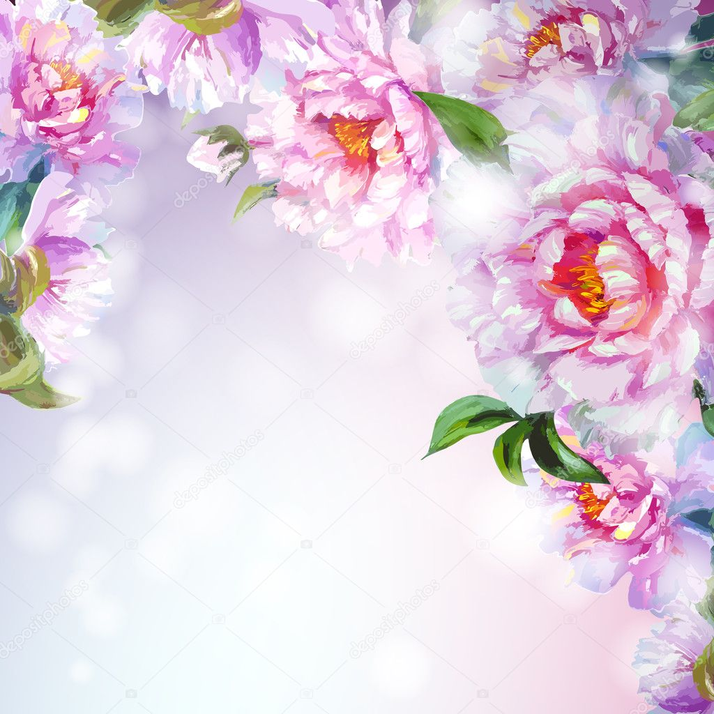 Peonies flowers background.
