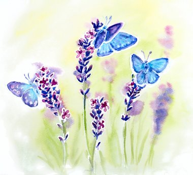 Painted watercolor card with summer lavender flowers and butterflies