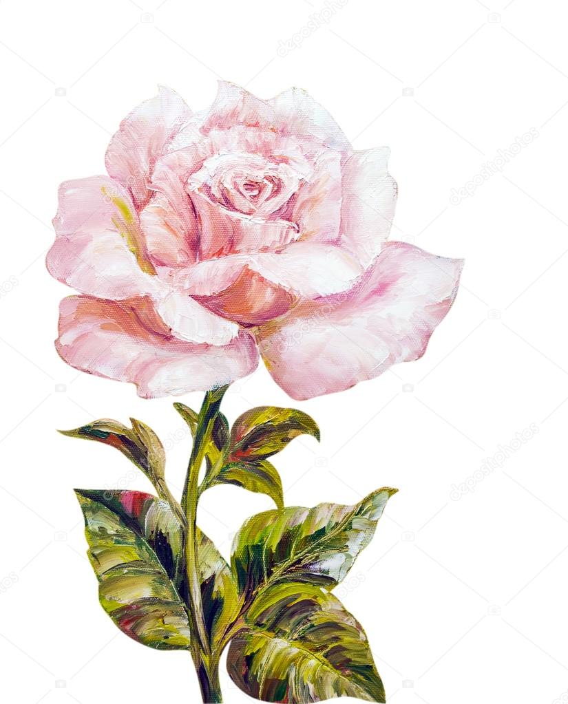 Belle Rose Peinture A L Huile Sur Toile Photographie Valenty
