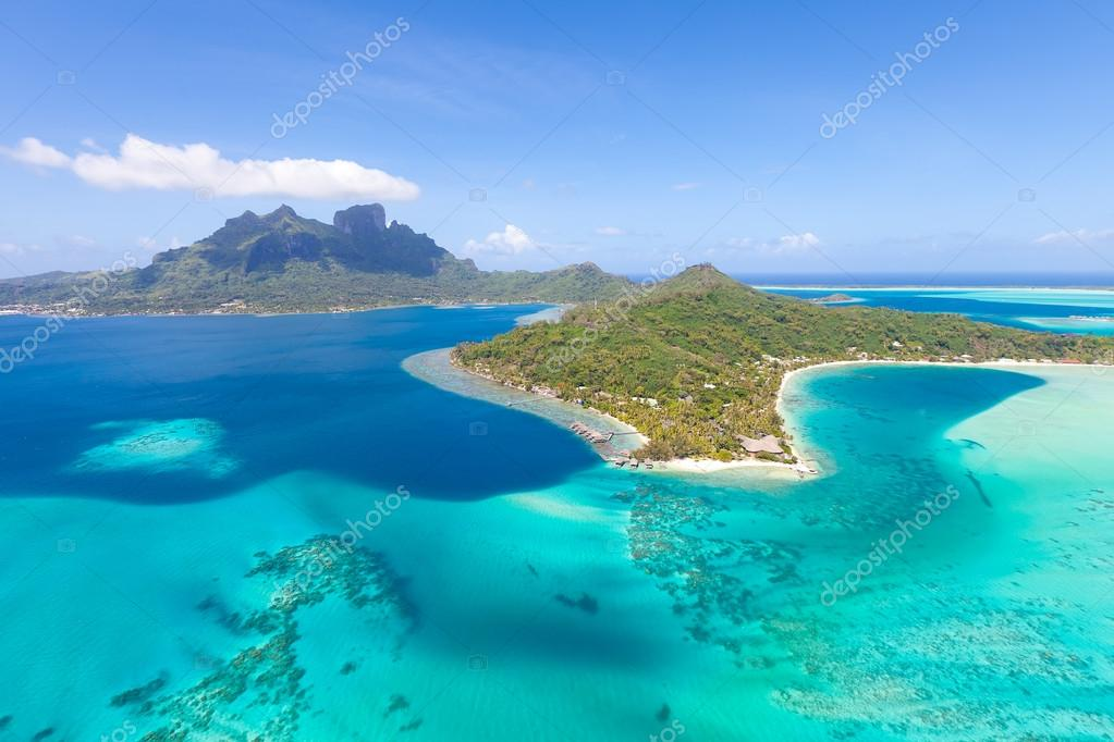 french polynesia from helicopter