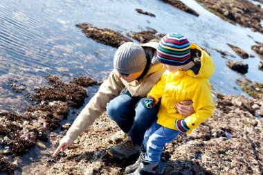 family at tide pools
