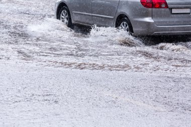 Driving on flooded street