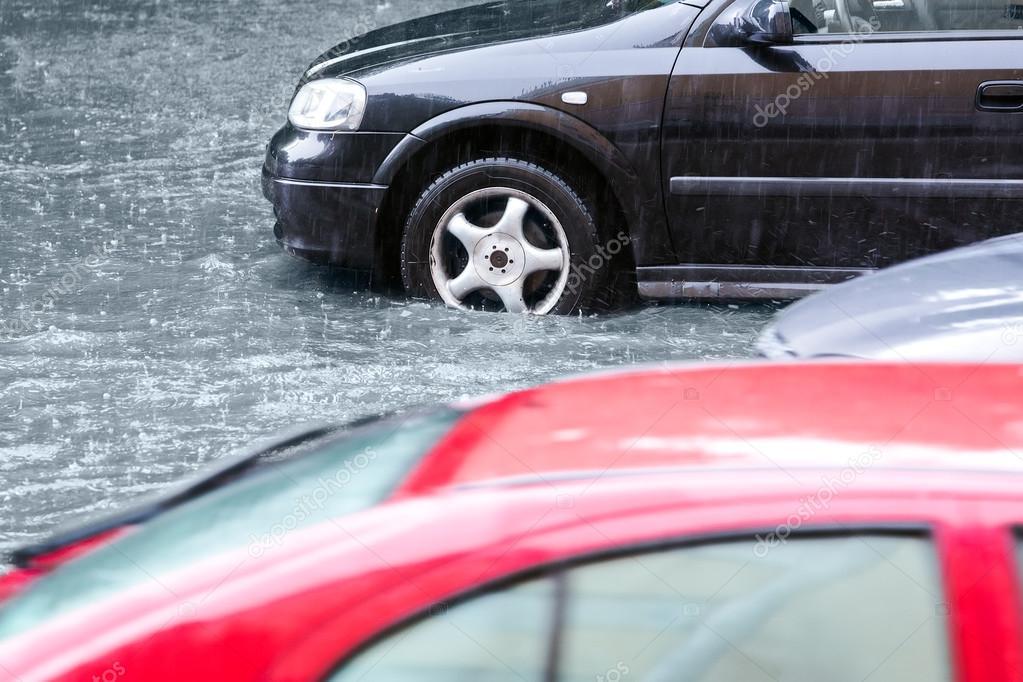Slow traffic in rain