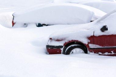 Snowy parking lot