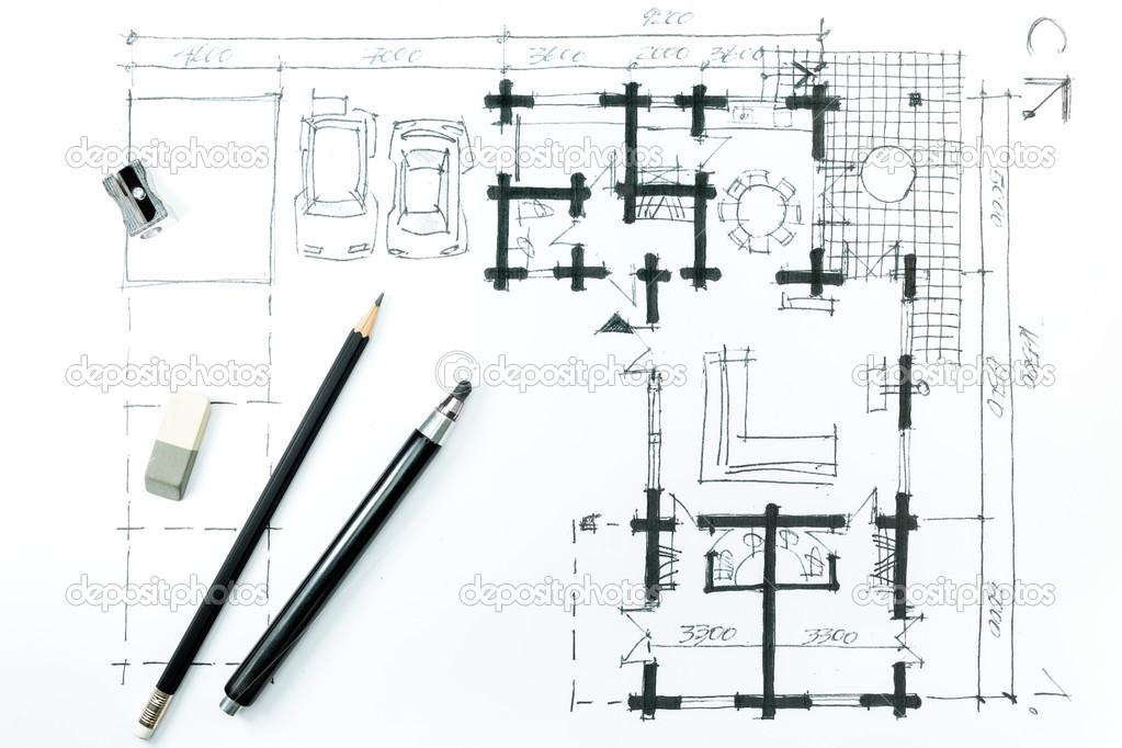 Architecture De Dessiner Un Croquis Avec Un Crayon. Plan De Maison U2014 Image  De MrTwister