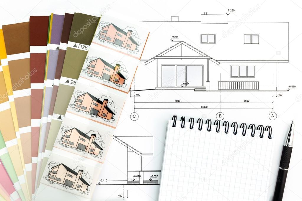 Dessin d 39 architecture avec le bloc notes et couleur samles for Dessin d architecture