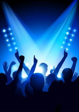 Cheering crowd at a concert (poster format) clip art vector
