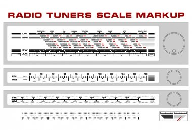 Radio tuner scale dashboard markup vector, 3 styles stock vector