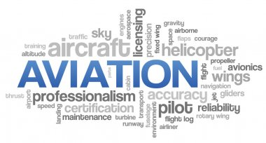 Aviation Word Cloud Blue Bubble Tags Tree Vector stock vector