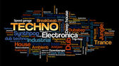 Electronic Techno Music Styles Word Cloud Bubble Tag Tree