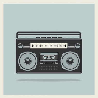 Classic 80s boombox on Retro Background Vector