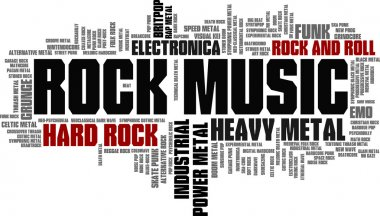 Rock Music Styles Word Cloud Bubble Tag Tree vector isolated stock vector