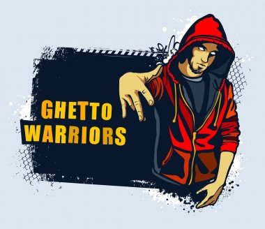 Young gangster. Grungy street art slyled vector illustration. clip art vector