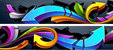 Two horizontal graffiti banners