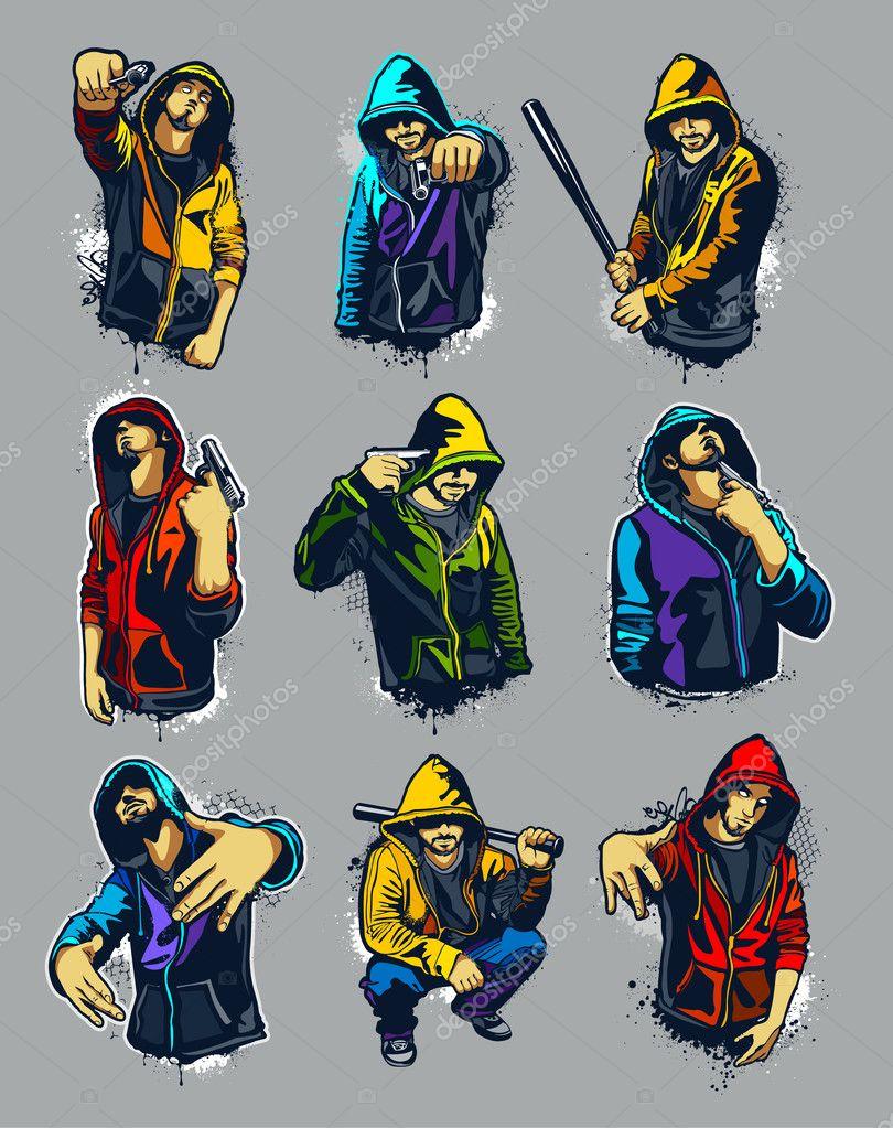 Vector set of hoody gangsters