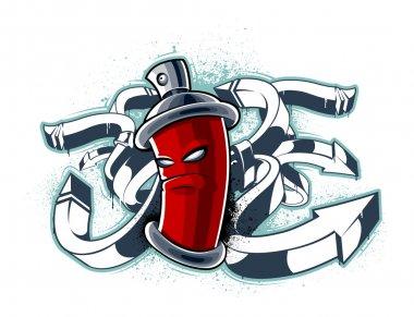 Strange graffiti image with can