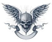 Totenkopf mit Flügeln, Schleife und Platz für Ihren text