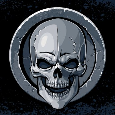 Vector illustration of an ancient gothic celtic stone skull medallion
