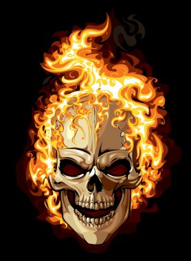 gold skull icon. fire ornament tattoo