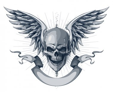 Skull with wings, ribbon and place for your text