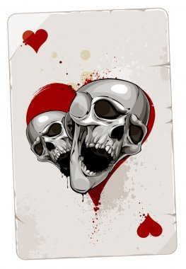 the ace card with abstract heart skull