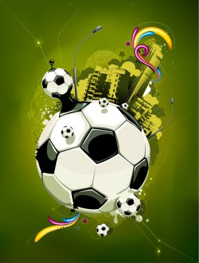 Sport background. Soccer ball . Grunge style . Vector illustration. clip art vector