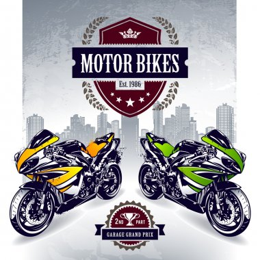 Two sport bikes on city background