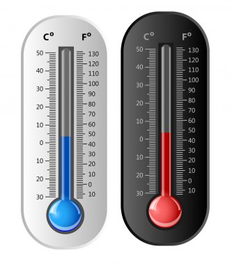 Thermometer white and black. Vector. Celsius and Fahrenheit. clip art vector